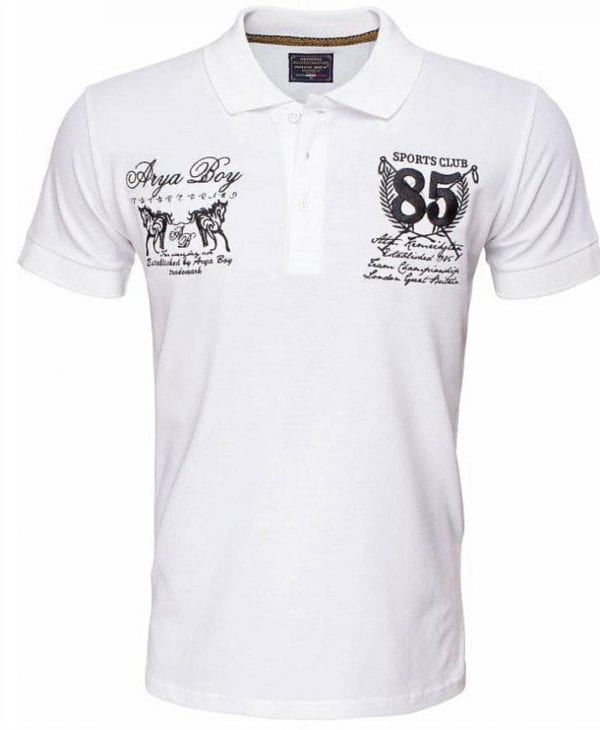 Arya Boy Polo Shirts Heren Goedkoop Korte M ouw Wit 2