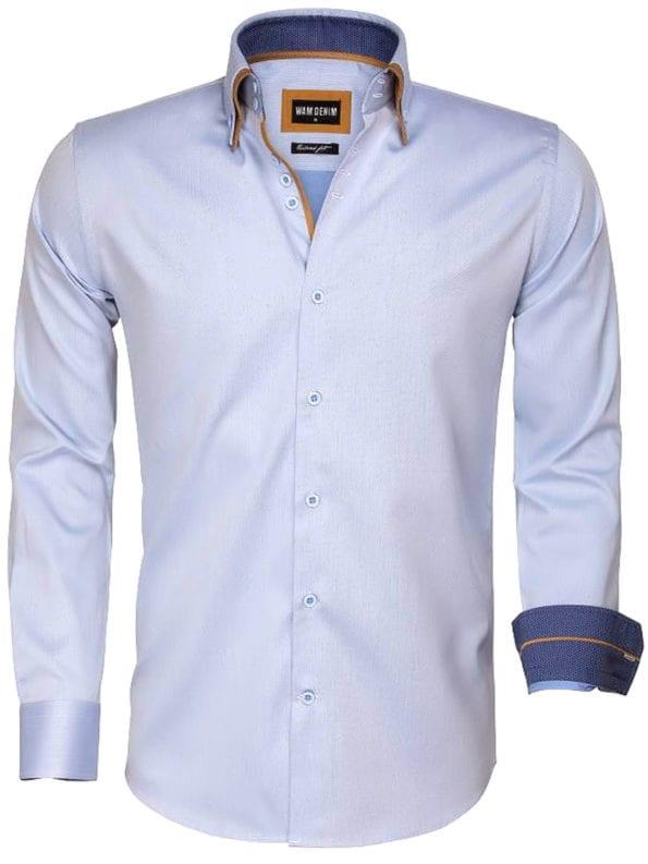 Blauw Wam Denim heren overhemd Lange mouw dubbele boord 100 katoen Agrigento 75546 voorkant