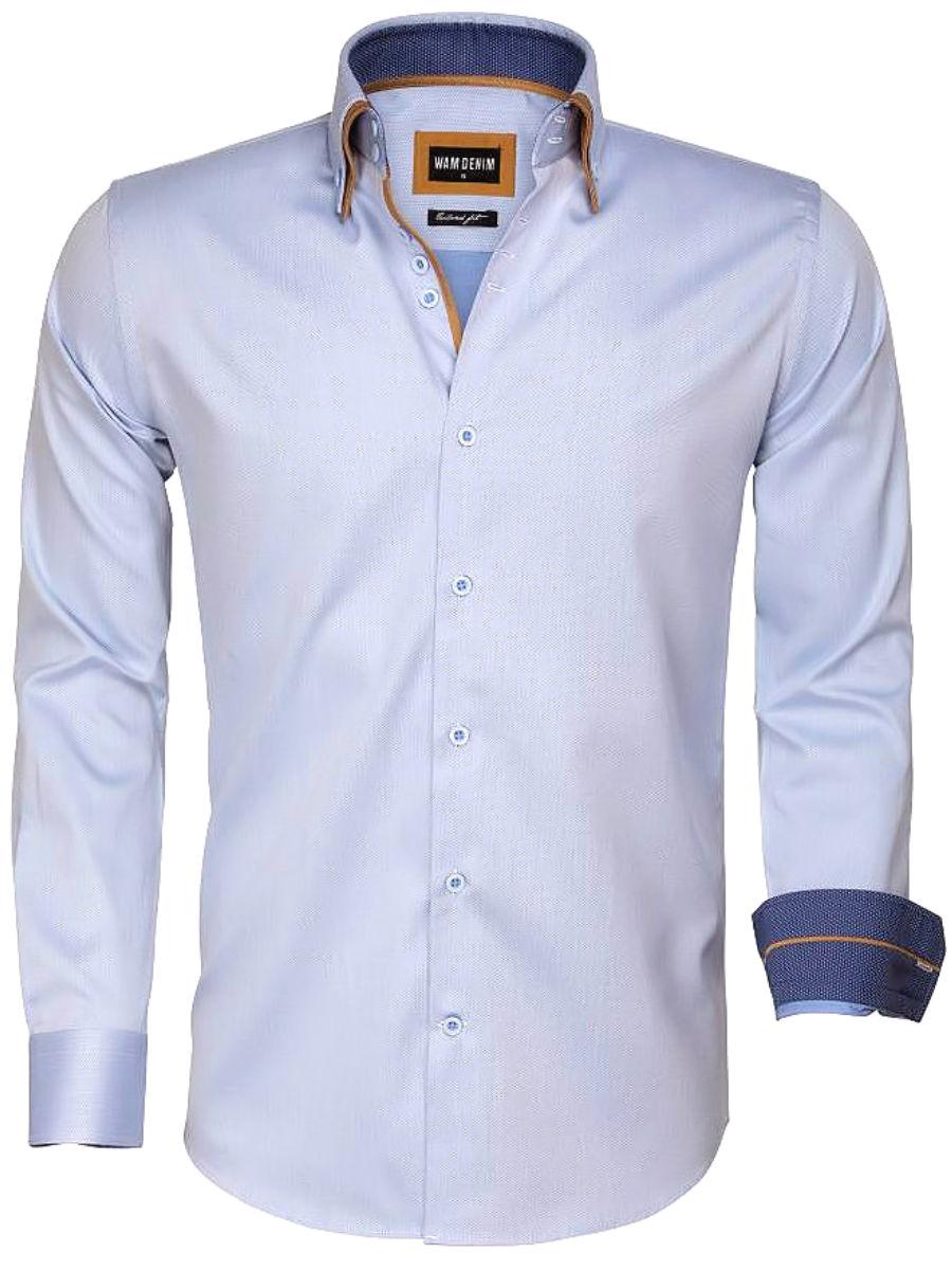 Denim Heren Overhemd.Wam Denim Overhemd Blauw Dubbele Boord 75546 Bendelli