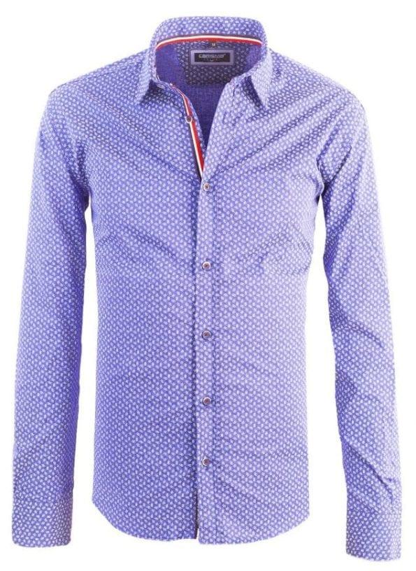 Carisma heren overhemd lange mouw shirt gewerkt blauw blouse 8412 2 Groot