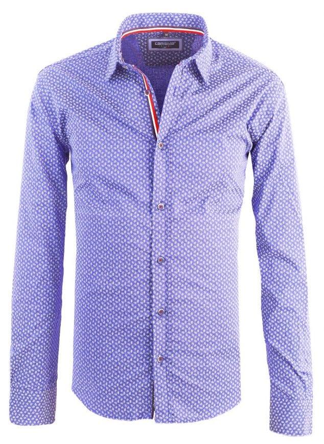 Heren Overhemd Blauw.Carisma Italiaans Heren Overhemd Gewerkt Blauw Bendelli
