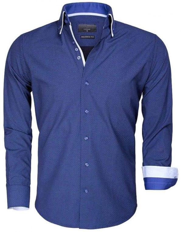 Donkerblauw Gaznawi heren overhemd Lange mouw dubbele boord goedkoop Benevento 65015 voorkant