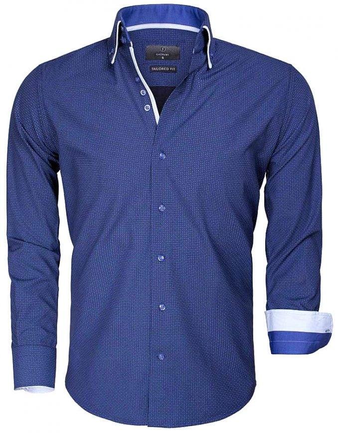 Donkerblauw Overhemd.Gaznawi Heren Overhemd Blauw Gestipt Motief 65015 Bendelli