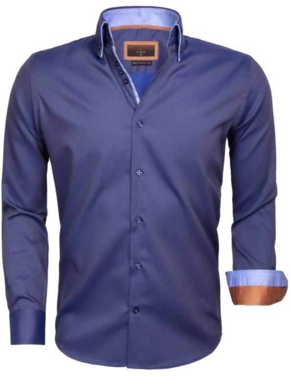 Gaznawi heren overhemd blauw 65004 CENOVA ANTHRACITE ROYAL BLUE voorkant