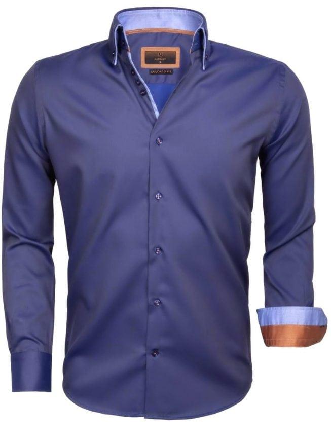 Heren Overhemd Blauw.Gaznawi Heren Overhemd Dubbele Kraag Donkerblauw 65004 Bendelli