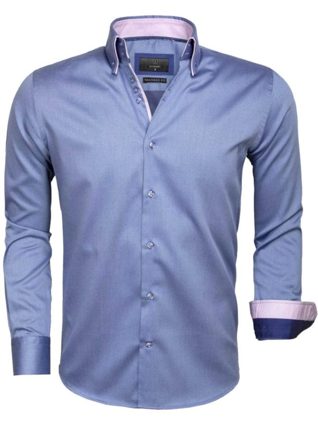 Gaznawi heren overhemd dubbele boord blauw 65004 CENOVA ROYAL BLUE voorkant