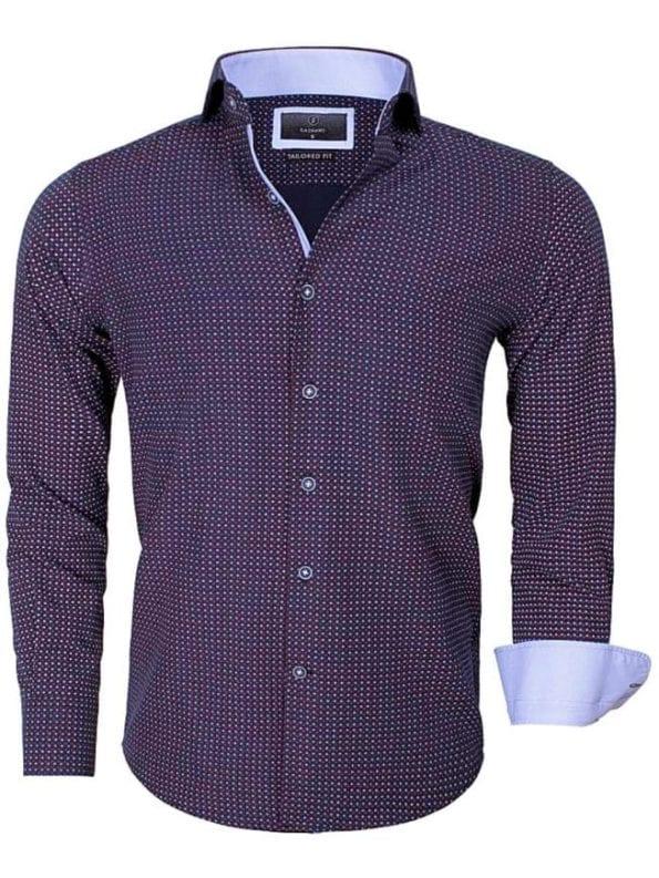 Gaznawi heren overhemd gestipt motief zwart Brindisi 65013 voorkant