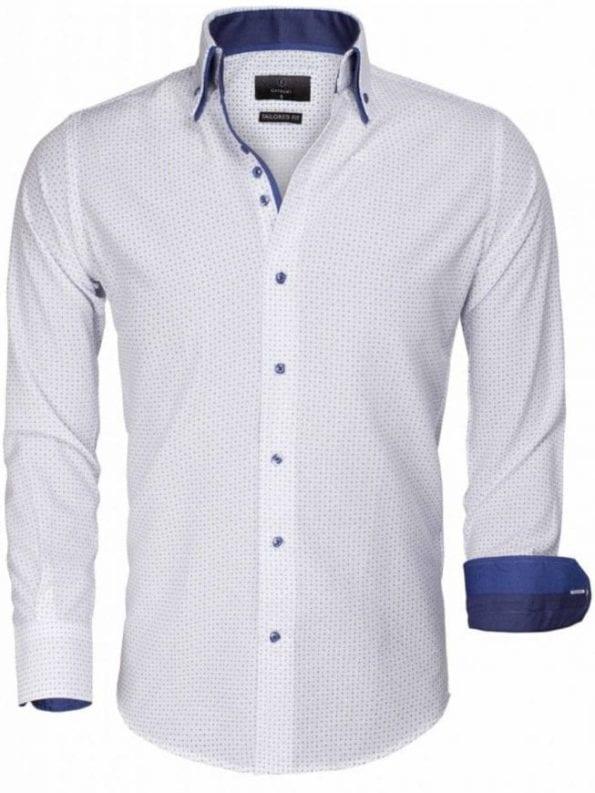 Gaznawi overhemd bloemenprint stipmotief wit slimfit gewerkt heren 65015 voorkant Bendelli Hernemode