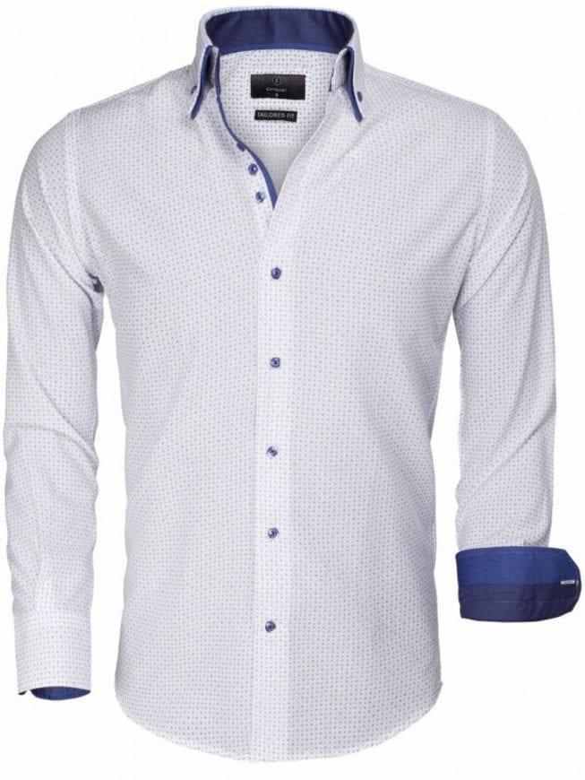Heren Overhemd Bloemenprint.Gaznawi Heren Overhemd Wit Gewerkt Motief 65015 Bendelli