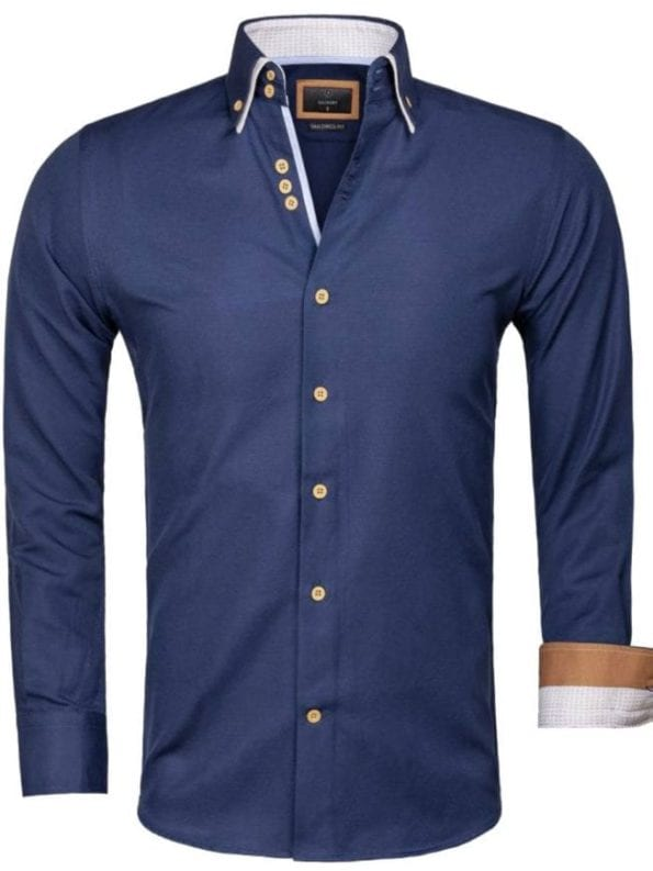 Gaznawi overhemd donkerblauw dubbele kraag LAquila 65023 voorkant Bendelli Herenmode 1