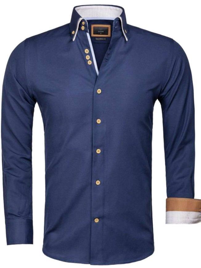 Gaznawi overhemd donkerblauw dubbele kraag LAquila 65023 voorkant Bendelli Herenmode
