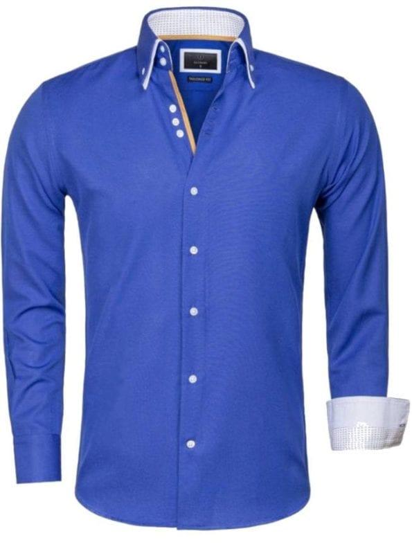 Gaznawi overhemd kobalt blauw dubbele kraag LAquila 65023 voorkant Bendelli Herenmode
