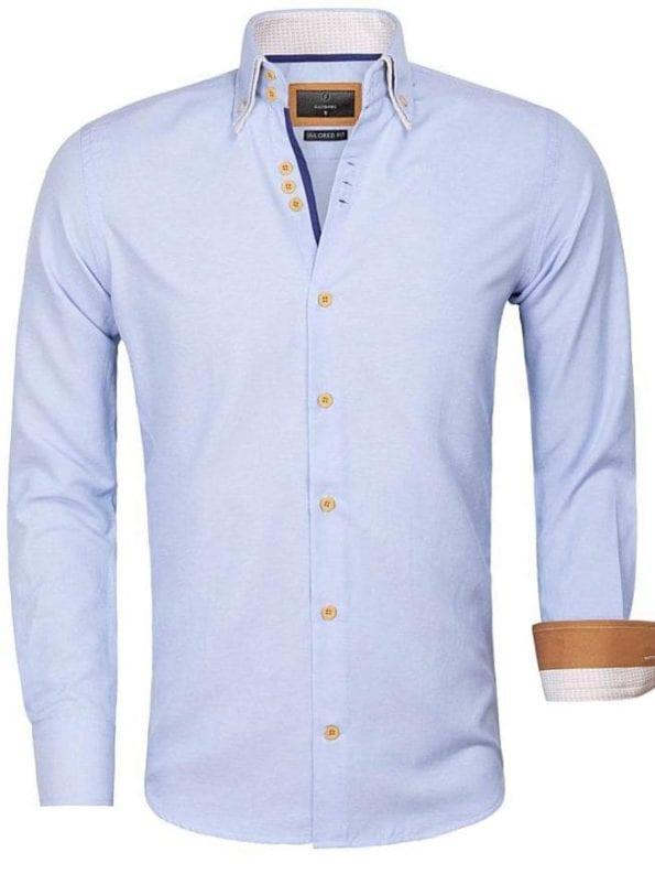Gaznawi overhemd lichtblauw dubbele kraag LAquila 65023 Bendelli Herenmode