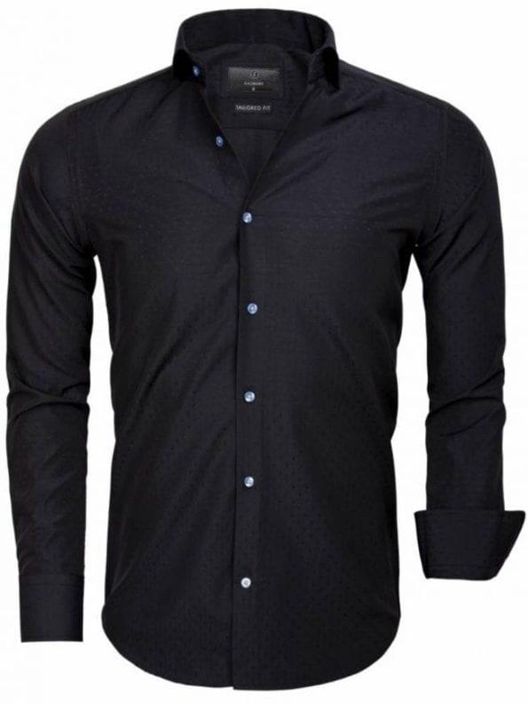 Slim fit overhemden heren Gaznawi zwart
