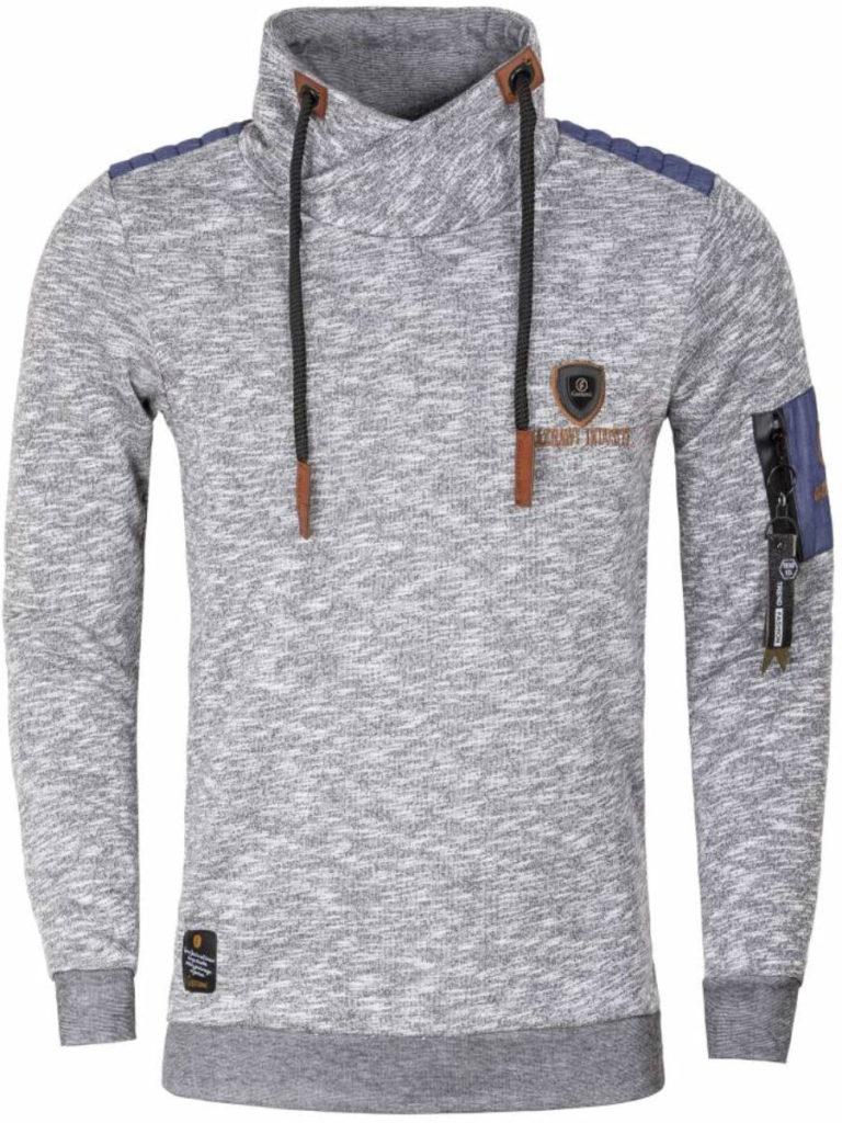 Gaznawi trui sweater sjaalkraag zwart tunnelkoord voorkant 66006 Bendelli Herenmode