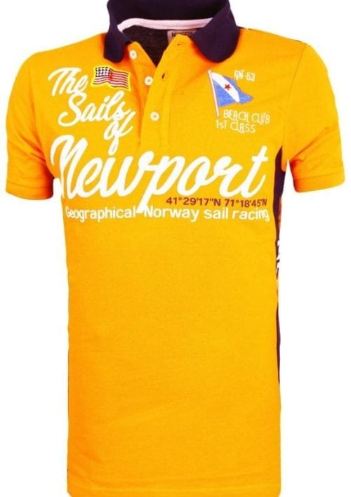 Geographical Norway Heren Poloshirt Newport Sailing Crew Kayport Polo Racing Oranje 2 Groot
