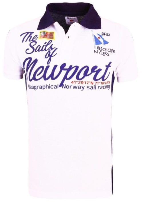 Geographical Norway Heren Poloshirt Newport Sailing Crew Kayport Polo Racing Wit 2 Groot
