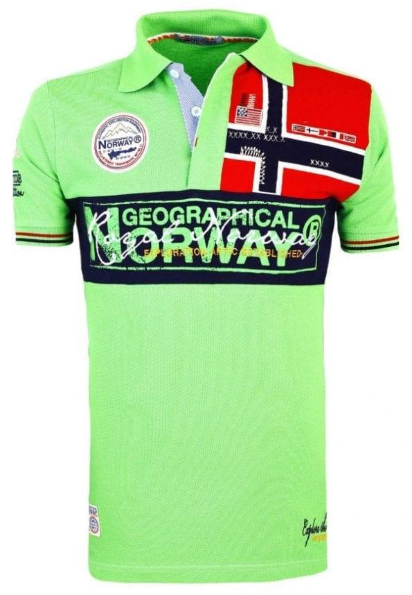 Geographical Norway Herenpolo Vlag op Borst Poloshirt Kaola Groen 2 Groot