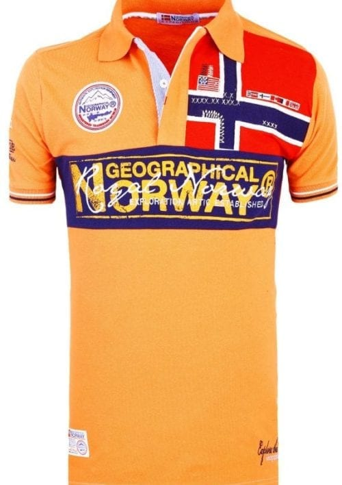 Geographical Norway Herenpolo Vlag op Borst Poloshirt Kaola Oranje 2 Groot