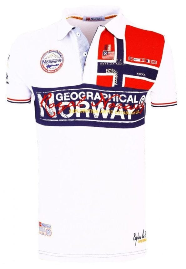 Geographical Norway Herenpolo Vlag op Borst Poloshirt Kaola Wit 2 Groot