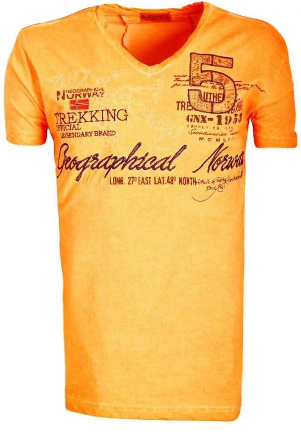 Geographical Norway Shirts Tshirts Heren Japolitan Bendelli Oranje 2 Large