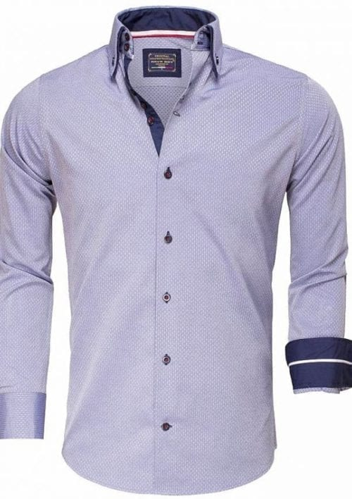 Gewerkt heren overhemd slimfit dubbele kraag kreukvrij Indigo Arya Boy 85262 Bendelli 2