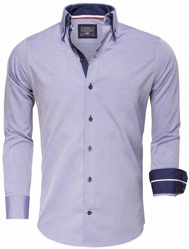 Arya Boy Overhemd.Arya Boy Italiaans Overhemd Gewerkt Indigo Blauw 85262 Bendelli