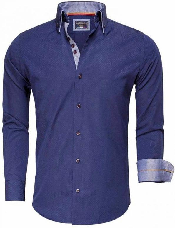 Gewerkt heren overhemd slimfit dubbele kraag kreukvrij donkerblauw Arya Boy 85262 Bendelli 2