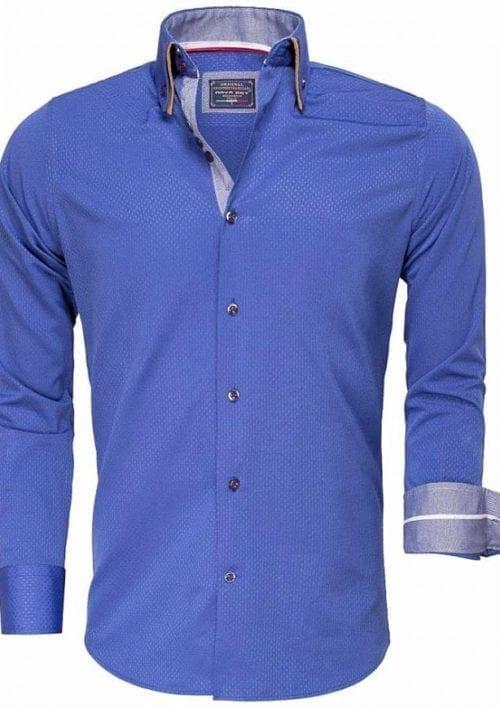 Gewerkt heren overhemd slimfit dubbele kraag kreukvrij lichtblauw Arya Boy 85262 Bendelli 2