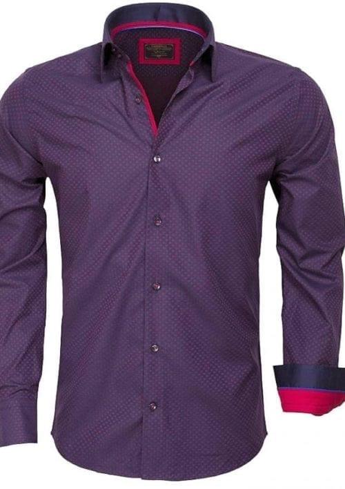 Gewerkt heren overhemd wam denim blouse lange mouw 75419 blauw rood 2