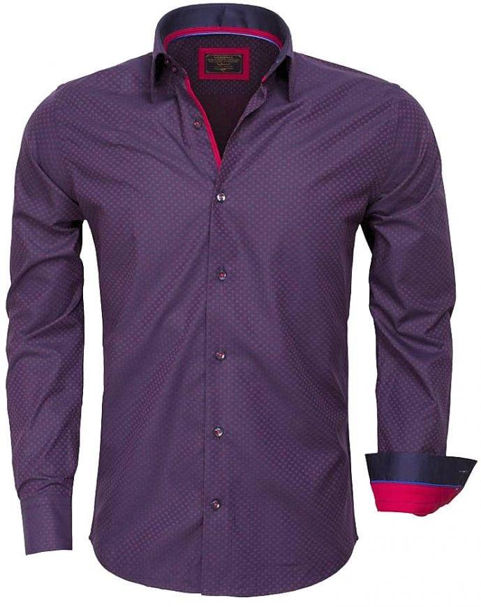 gezellig fris te koop outlet boetiek Wam Denim Italiaans Overhemd Blauw met Motief Enkele Boord 75419