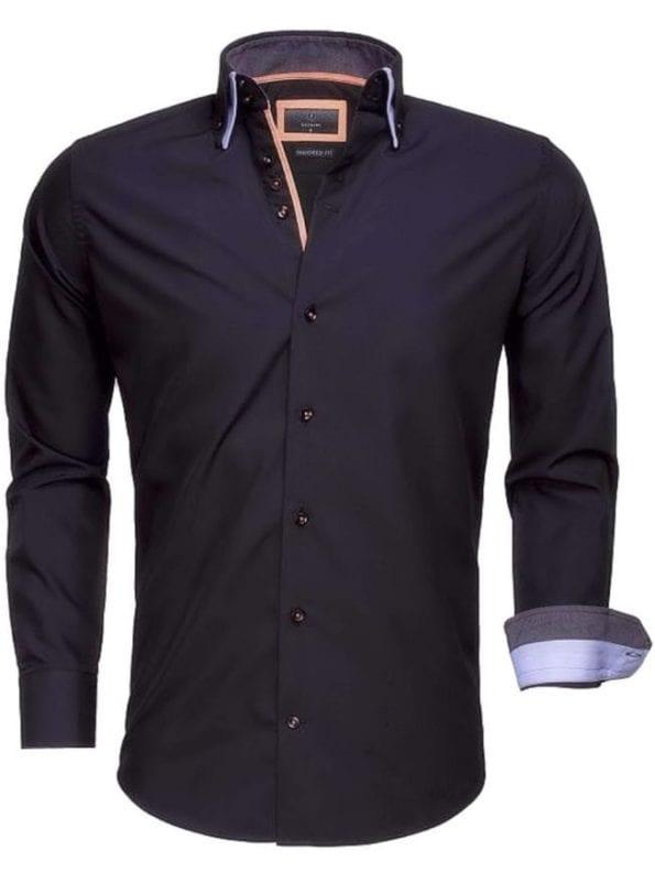 Goedkoop heren overhemd dubbele boord zwart Gaznawi 65009