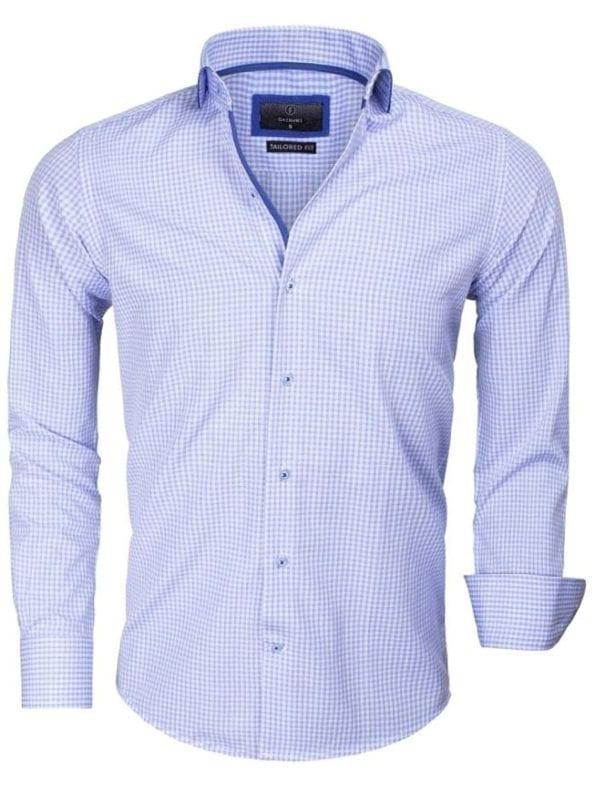 Goedkoop heren overhemd geblokt motief blauw 65016 voorkant