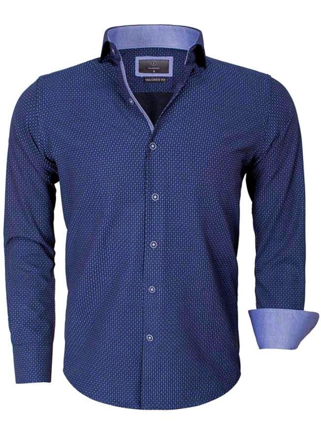 Donkerblauw Heren Overhemd.Gaznawi Heren Overhemd Donkerblauw Gewerkt Motief 65013 Bendelli