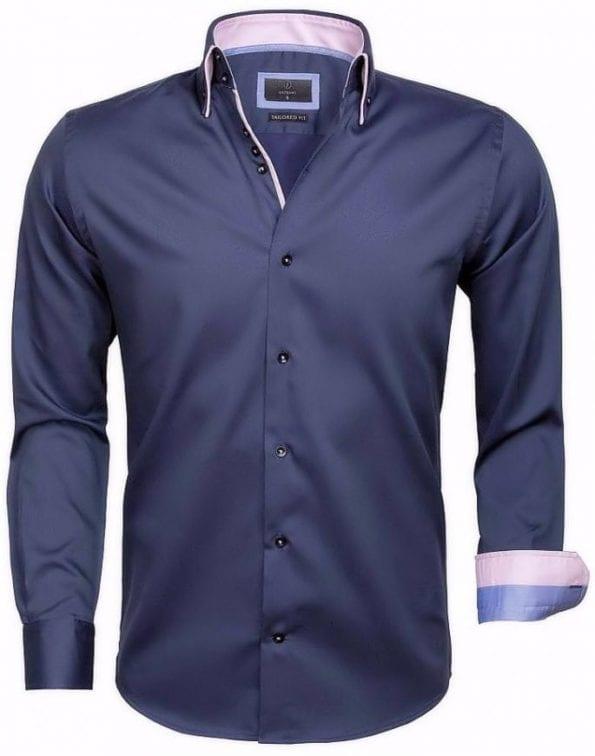 Slim fit overhemden herengrijs dubbel boord Gaznawi