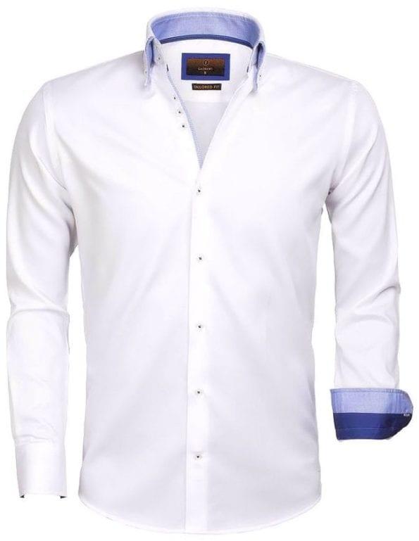 Goedkoop heren overhemd wit dubbel boord Gaznawi blouse Cenova 65004 voorkant
