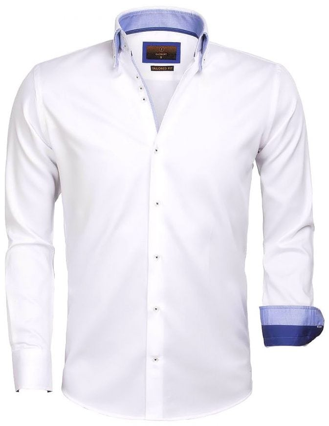 Heren Overhemd Wit.Gaznawi Heren Overhemd Dubbele Kraag Wit 65004 Bendelli