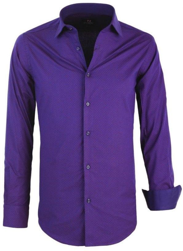 Heren Overhemd Blauw Gewerkt Di Nero Wide Spread Boord 2 Large