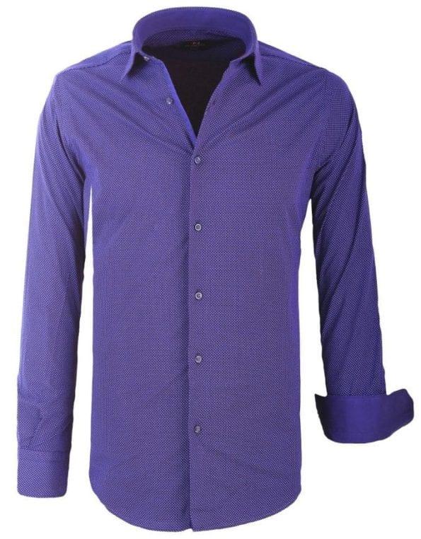 Heren Overhemd Blauw Gewerkt Stip motief Di Nero Wide Spread Boord 2 Large