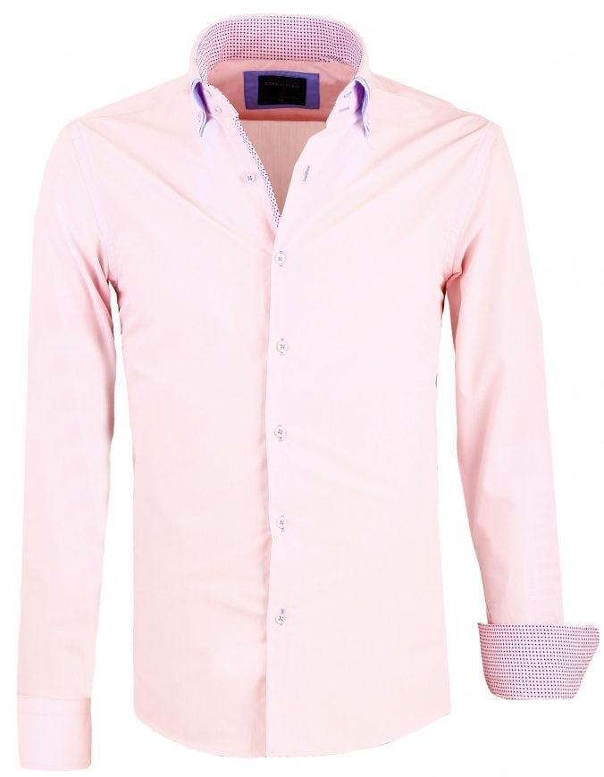 Heren Overhemd Roze.Enrico Polo Italiaans Overhemd Dubbele Boord Roze 26053 Bendelli