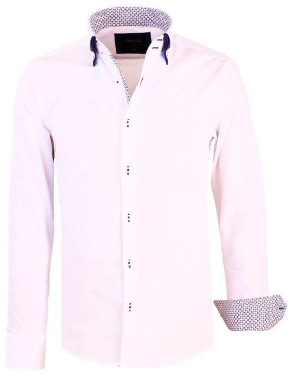 Heren Overhemden Italiaans Dubbele Kraag Wit Enrico Polo 5 Large
