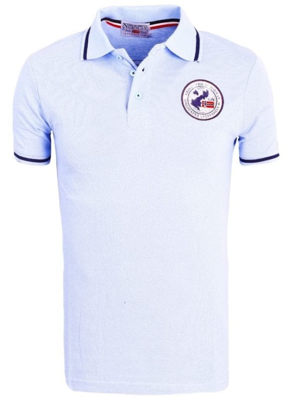 Heren Poloshirt Geographical Norway Logo op de Borst Kamelo Polo Lichtblauw 2 Groot