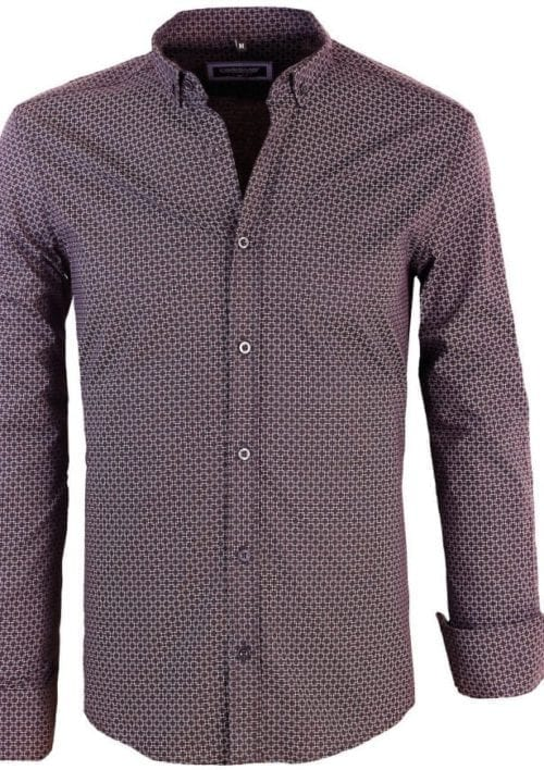 Heren blouse gewerkt Gestipt motief 8401 Zwart 1 Large