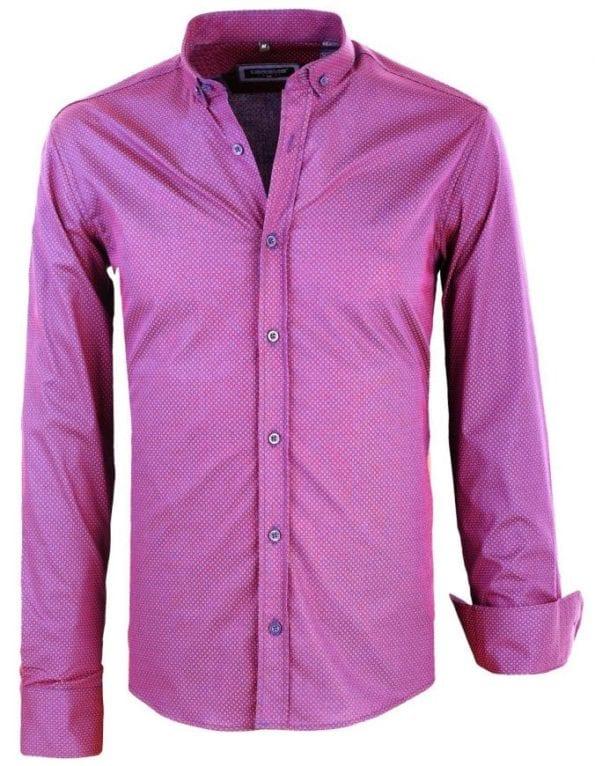 Heren blouse gewerkt gestipt motief 8403 Rood 6 Large