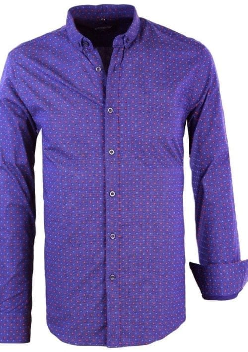Heren blouse gewerkt motief Carisma 8357 blauw 7 Large