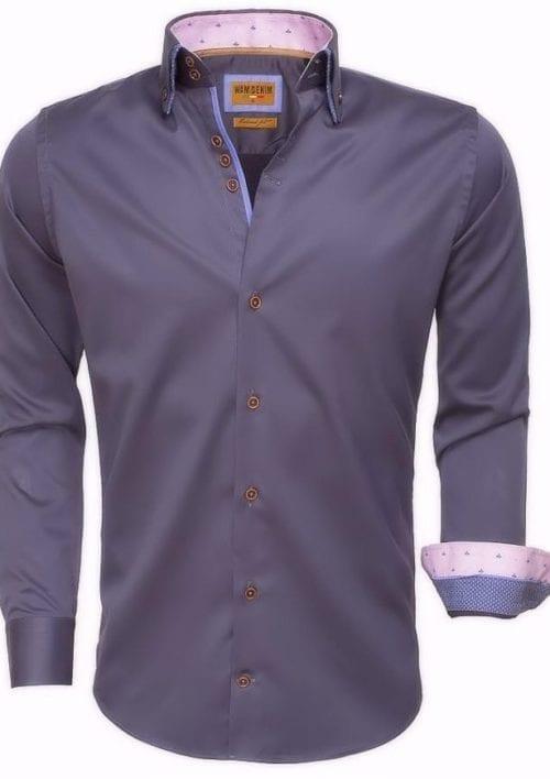 Heren overhemd Grijsdubbele boord slim fit lange mouw Bendelli 75509 2