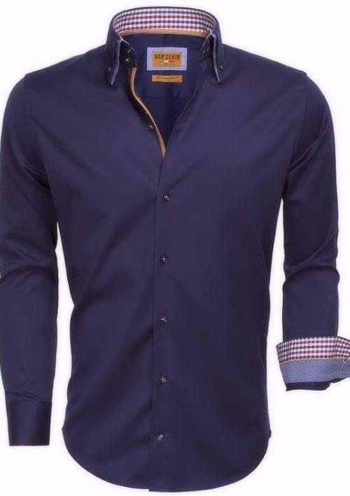 Heren overhemd blauw dubbele boord slim fit lange mouw Bendelli 75510 2