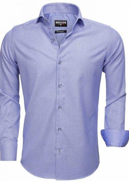 Heren overhemd blauw gewerkt Wam denim overhemd langemouw cut away boord 75522 2