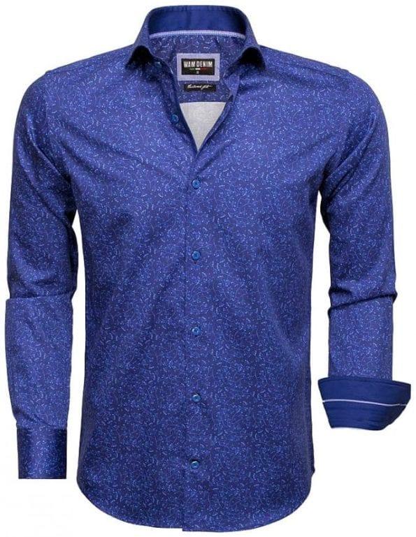 Heren overhemd blauw gewerkt motief Wam denim overhemd langemouw cut away boord 75527 1