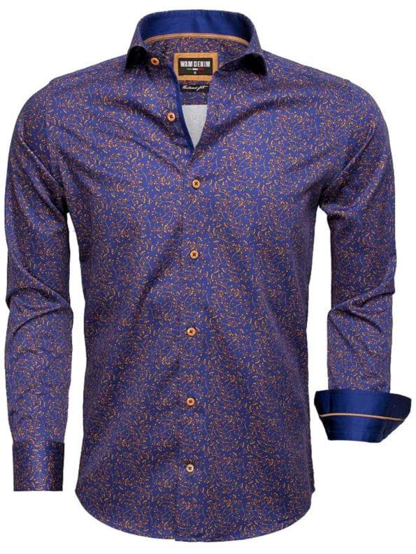 Heren overhemd blauw peru gewerkt blouse Wam denim overhemd langemouw cut away boord 75527 2